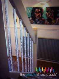 Acrylic bubble rod stair rail balusters